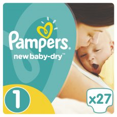 Подгузники Pampers New Baby-Dry Размер 1 (Newborn) 2-5 кг, 27 шт (4015400264453)